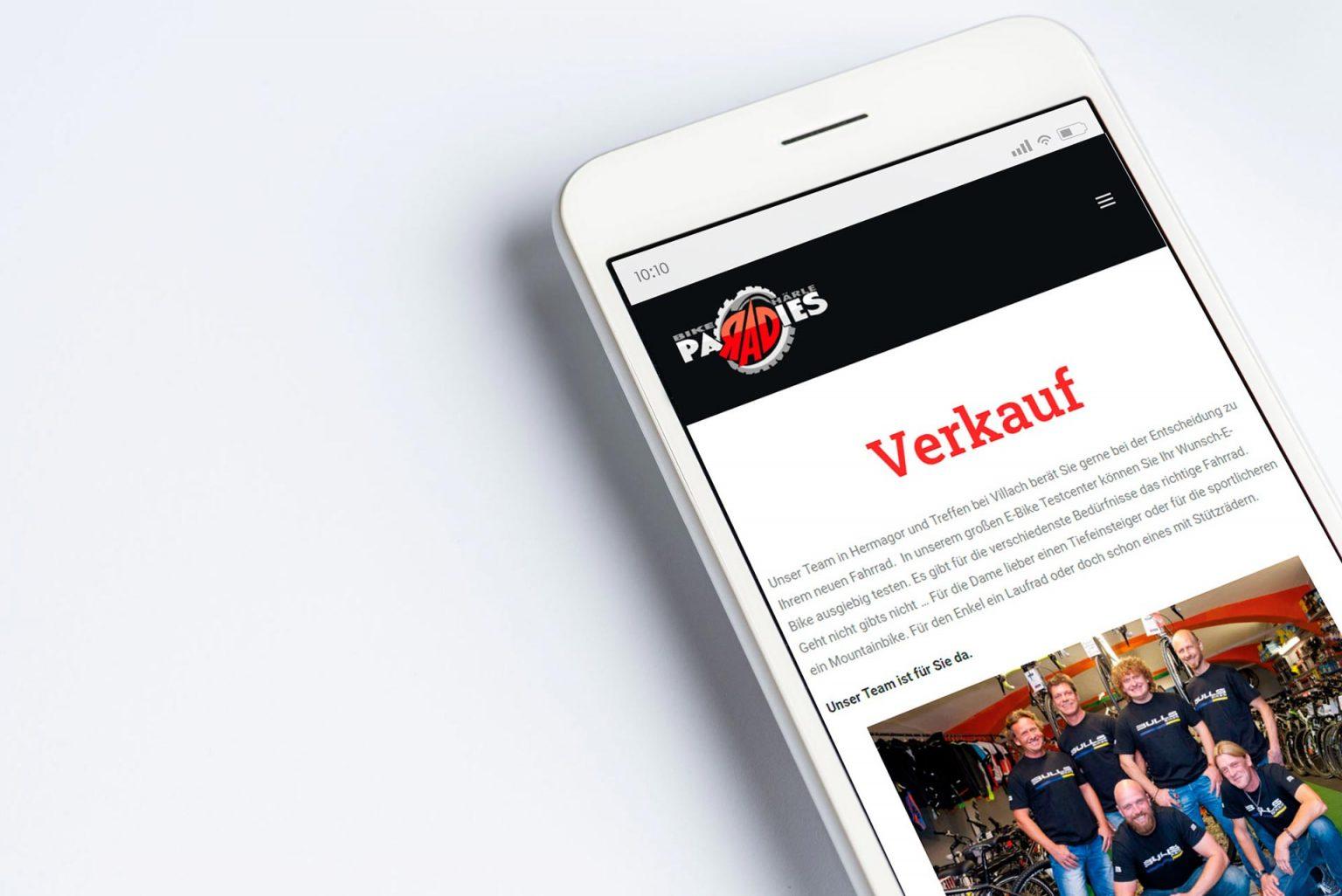 Mobile Webdesign Bikeparadies Härle