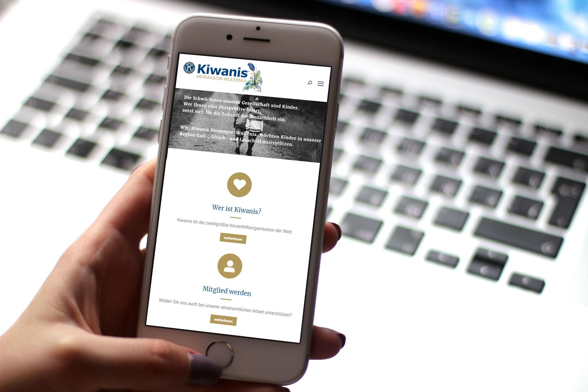 Webdesign Kiwanis Club Hermagor-Wulfenia Mobile
