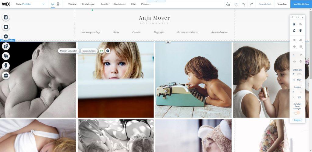 Wix Homepage Baukasten Vorlage bearbeiten